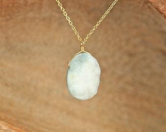 Ocean jasper druzy necklace - jasper necklace - raw crystal - a one of a kind jasper druzy wire wrapped onto a 14k gold vermeil chain
