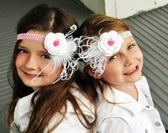 Feather headband, crochet flower with ostrich feathers, girls headband, boutique headband hair accessory, soft headband, chevron headband
