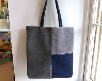Leather tote bag / Dark Gray, Gray, Navy / Pig suede leather / Free Shipping