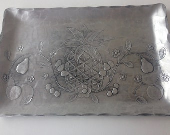 The Forge Hand Hammered Metal Tray Williamsburg PINEAPPLE Small 9x6 inch
