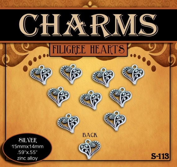CHARMS - Filigree Heart Tibetan Antique Silver - Pack of 10 Charms. Love Jewelry Findings for Necklaces, Bracelets, Pendants, Craft Projects