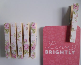 Magnetic Pegs Clothespins ShabbyPink Roses