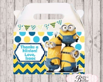 The Minions favor box, Minions gable box, 10 Minions party favor gable box, Minions favor box