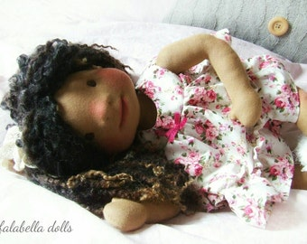 "Waldorf Doll, Custom Waldorf Inspired Doll, 16"" Doll, Steiner Doll, Natural Fibre Doll, Organic, Handmade by Falabella Dolls"