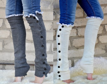 Dark grey cable knit lace leg warmers, knit lace leg warmers, boot socks boot cuffs, birthday day gifts by TTAcc