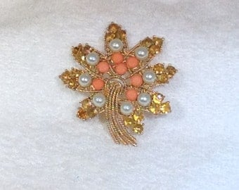 Vintage Brooch with Pearls, Coral and Topaz Stones