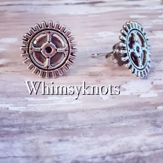 Mx earrings-Motocross earrings-Gear Earrings--custom jewelry