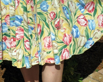 Festival of Tulips - Celebration of Spring Flowers Vintage Tablecloth Circle Skirt