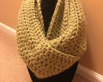 Lime Alpaca Crochet Infinity Scarf