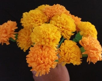 Day of the Dead 12 Orange and Yellow Marigolds, Dia de Los Muertos, Mexican Flowers, Crepe Paper Flowers, Wedding Decorations, Party Decor