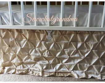 Cream Tan Beige Crib Skirt, Pinch Dust Ruffle, Baby Nursery Theme, Creamy Taffeta Silk Baby Bedding
