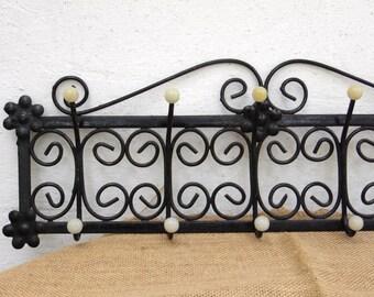 Retro Wrought Iron Coat Rack - Vintage Wall Hooks - Coat Hanger