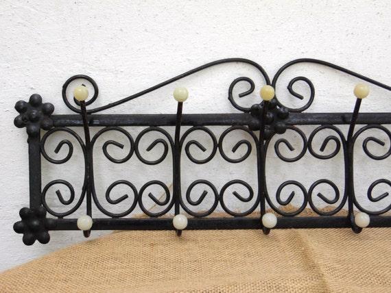 Retro Wrought Iron Coat Rack Vintage Wall Hooks Coat