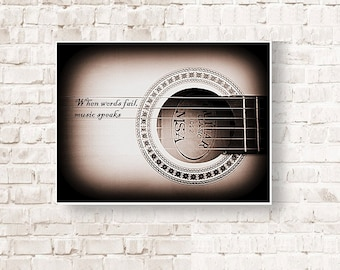 Guitar, Where words fail music speaks, music art print, poster music, poster guitar, songs, musician, home decor