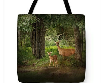 Tote Bag, Deer and Fawn Enchanted Forest, Double Sided TOTE BAG-Shopping Bag, Market Bag, Unique Tote Bag, Gift for Her, 13x13, 16x16, 18x18