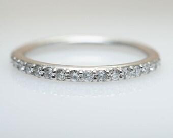 Diamond Wedding Band White Gold 14K Custom Wedding Ring Custom Diamond Band Natural Diamond Petite Wedding Band Diamond Ring