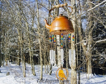 Handmade Repurposed Recycled Copper Tea Kettle Rusty Bird Cut Out and Vintage Glass Prisms Sun Catcher Mobile