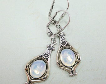 White Opal Earrings Vintage Swarovski Glass Jewels Art Deco Victorian Bridal Wedding