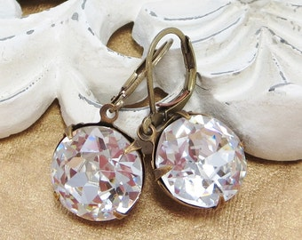 Crystal Clear Earrings Dangles Estate Style Ear Dangles Holiday Jewelry Christmas Gift