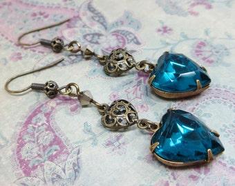 Teal Blue Heart Earrings Rhinestone Earrings Zircon Blue Heart Ear Dangles Victorian Downton Abbey