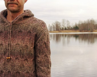 Man hoody knitted from brown wool with plaits Christmas gift