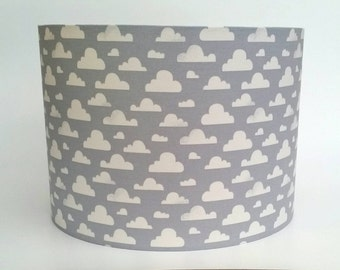 Grey & White Pitter Patter Cloudy Clouds Fabric Lampshade