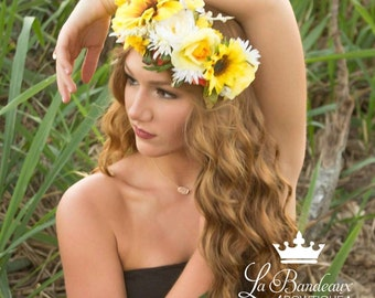 Sunflower Floral Halo, Wedding/Bridal Flower Crown, Hair Wreath, Floral Circlet, Bridal Floral Halo,Photo Prop
