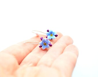 Forget me nots hook earrings and sterling silver
