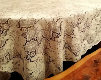 90 by 70 Quaker Lace Tablecloth Antique Lace Tablecloth Coverlet Cotton Lace Tablecloth