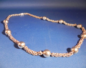 Vintage Sterling Silver Necklace Ball and Chain Design Hallmarked with TR-40 Mexico Mark