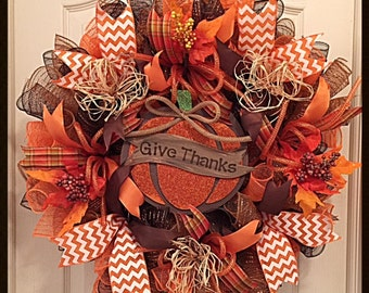 Fall Give Thanks Deco Mesh Wreath/Thanksgiving Wreath/Autumn Give Thanks Wreath/Orange and Brown Fall Wreath/Give Thanks Wreath