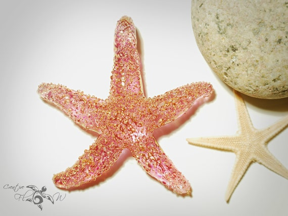 NEW! Golden Pink Starfish - Glass Sea Star Pendant - Lampworked Handmade Necklace Made with 24 Karat Gold - Glass Jewelry - Gold Coated Star