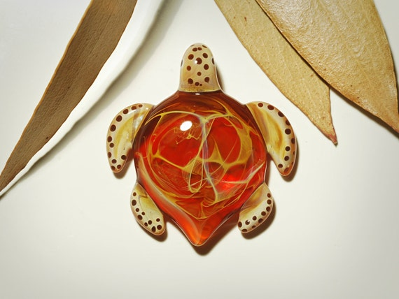 Glass Pendant - Cosmic Red Turtle Pendant - Glass Jewelry - Hand Blown Glass - Turtle Pendant - Handcrafted Necklace - Borosilicate Turtle