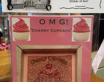 CHERRY CUPCAKE Cross Stitch Chart OMG #1 Counted Confections