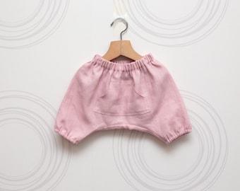 Pale pink linen girls harem shorts // Size 6-12month (EU74), 18-24 month (EU86), 2 years (EU92) - Ready to ship