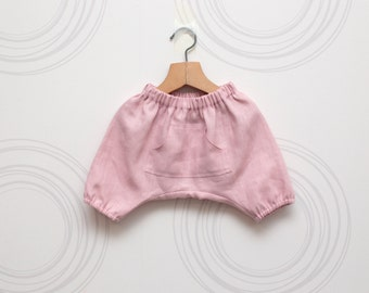 Rose quartz linen girls harem shorts // Size 6-12month (EU74) up to 2 years (EU92) - Ready to ship