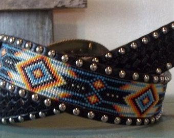 Leather beaded belt,with beaded insert and spots