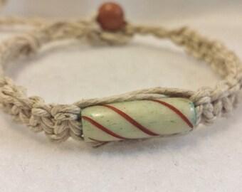 Bone Bead Hemp Bracelet