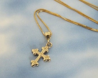 14k Gold Cross Necklace, 14k Solid Gold Cross Necklace, 7/16th inch Bontonee Cross with 14k Solid Gold Chain, Easter Gift Ready to Ship