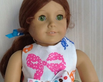 American Girl 18 inch Doll Dress Colorful Bow  Print Handmade Doll Dress with Matching Hairbow ~FREE SHIPPING~