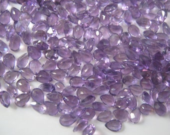 10 Piece Lot Natural Brazil Amethyst Pear Faceted