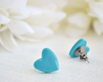 Turquoise heart earrings - Studs earrings