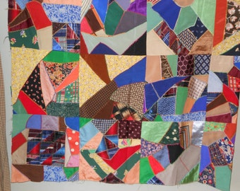 "Beautiful 1940s Antique Crazy Quilt Top 78"" by 90"""