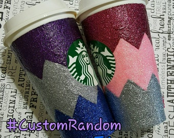Custom Glitter Coffee Cup - Chevron - CUSTOM Starbucks Cup  - your name and 2 choice colors