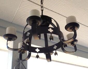 Gothic Wrought Iron  Candle Chandelier Indoor / Outdoor