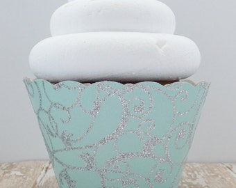 Tiffany Blue Glitter Cupcake Wrappers - Mint Blue Cupcake Holders - Standard Size - Birthdays, Weddings, Showers, Parties - Set of 12