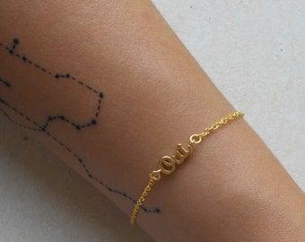 Oui bracelet tiny golden bracelet friendship chain bracelet - OUI