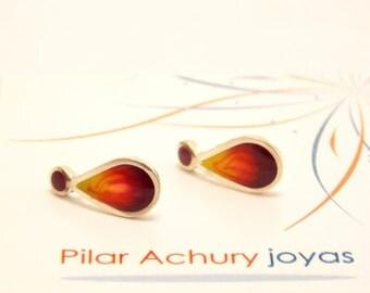 Drop stud earrings -  Sterling Silver Ear Studs - Red - Sunshine  earrings -  Spring - Summer  - Valentine's Day