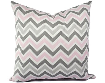 Two Chevron Decorative Throw Pillow Covers Baby Pink Grey and White - Throw Pillow Couch Pillow Cushion Cover Accent Pillow