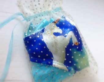 Girly Silk panties with laces, bows and unicorn print